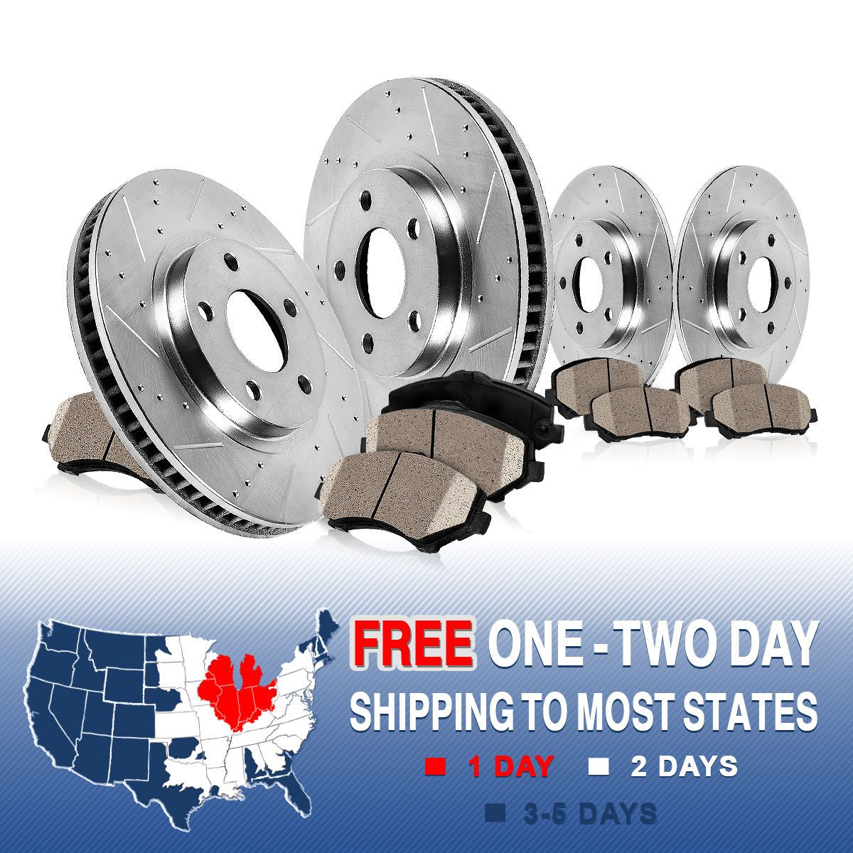 Front+Rear Brake Rotors /& Ceramic Pads For 2011 2012 2013 Ford Edge Lincoln MKX
