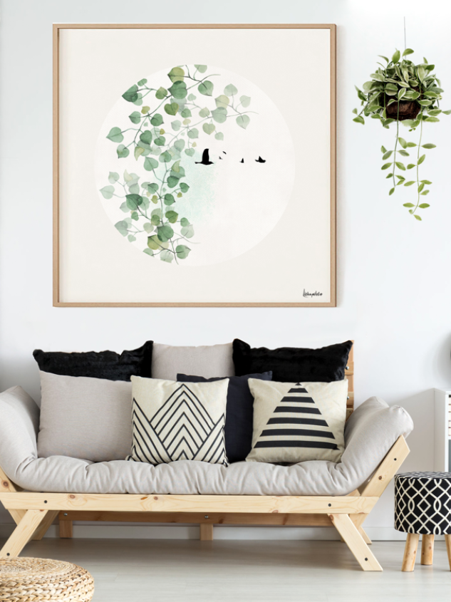 Scandinavian Large Wall Art Original Leaves Artwork Nordic Etsy Scandinavian Wall Decor Large Modern Wall Art Wall Art Living Room