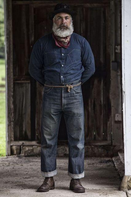Beards Men Grey Rope Belt Mens Fashion Denim Mens Fashion Rugged Denim Fashion