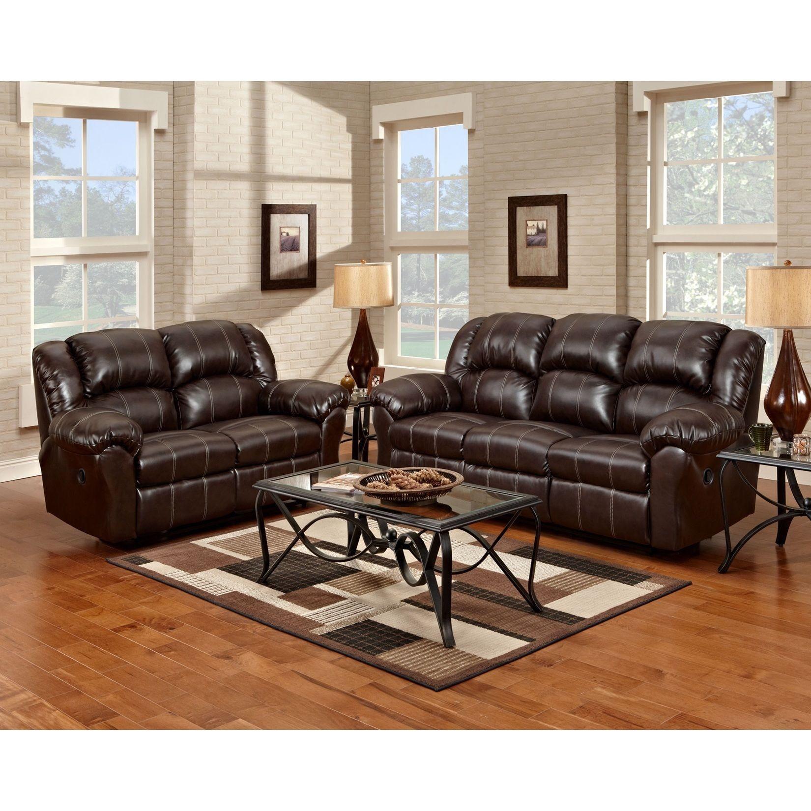Brandan Bonded Leather Dual Reclining Sofa and Loveseat Brown