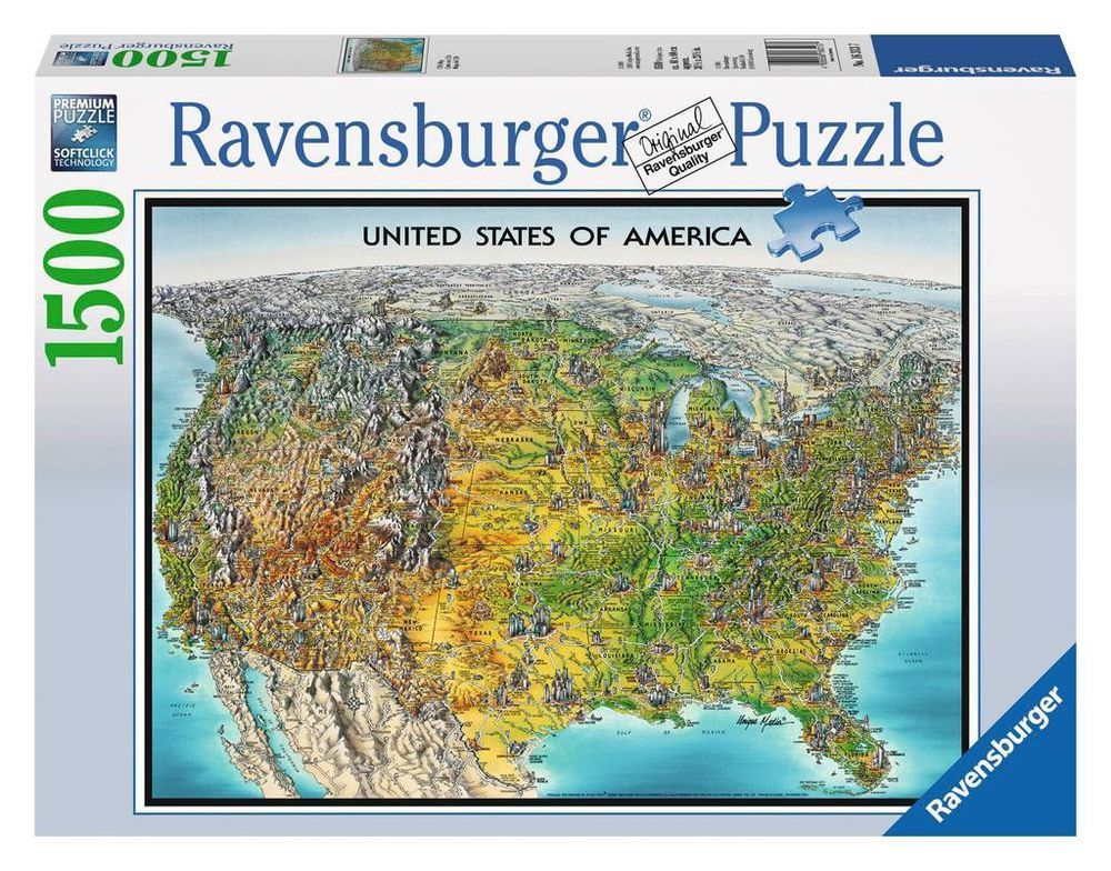 Ravensburger - USA Map Jigsaw Puzzle - 1500 pc ...