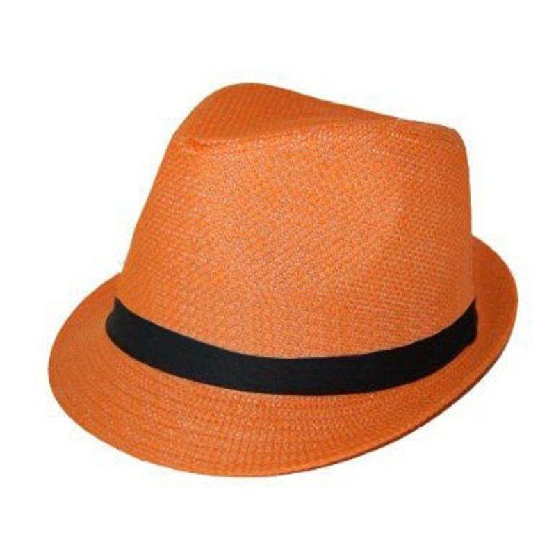 Private Island Party - Orange Cuban Tweed Fedora Hat 9e259cdd547b