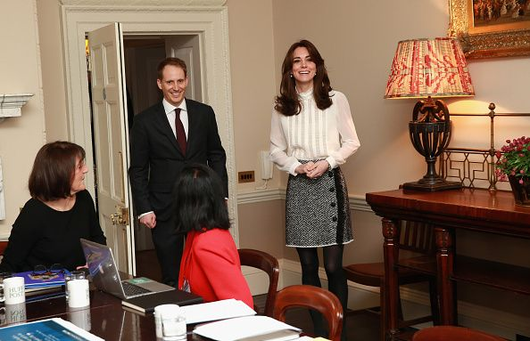 Arriving in the 'News Room' at Kensington Palace in London, England to support the launch of the Huffington Post UK's initiative 'Young Minds Matter' by guest editing.