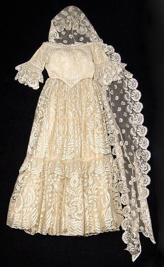 1845 1850 Probably Mexico Silk Wedding Ensemble Wedding