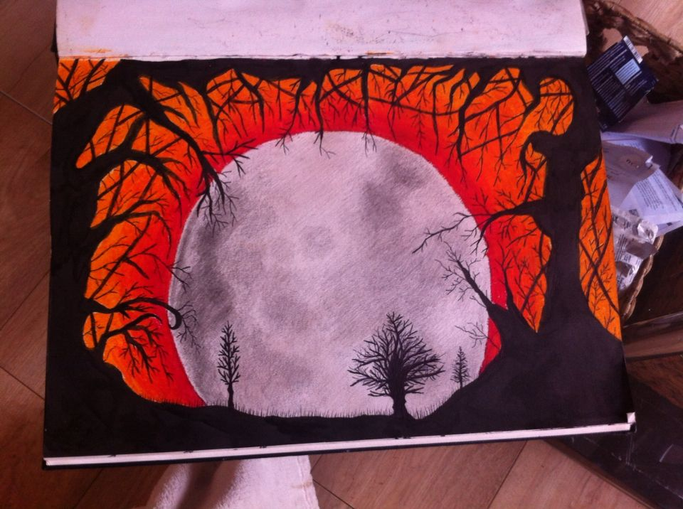 Halloween Inspired Pencil Ink And Oil Pastel Drawing With