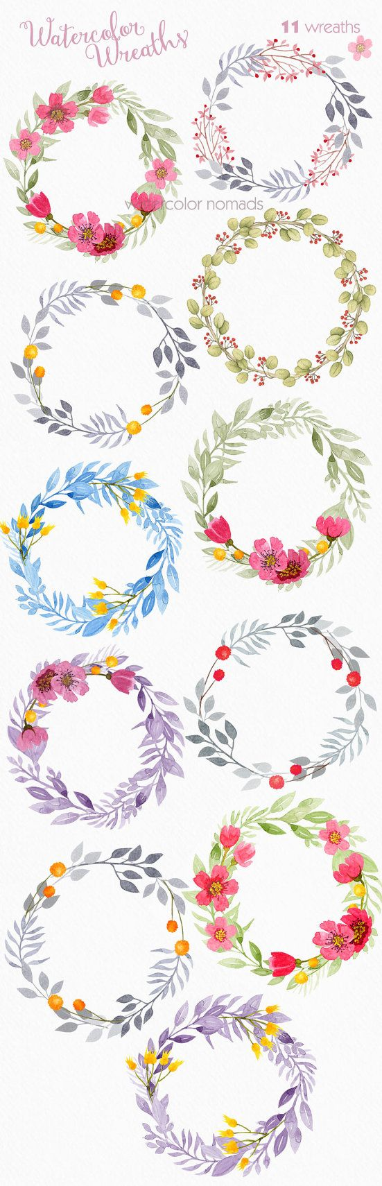floral wreath clipart watercolor clipart by watercolornomads [ 551 x 1710 Pixel ]