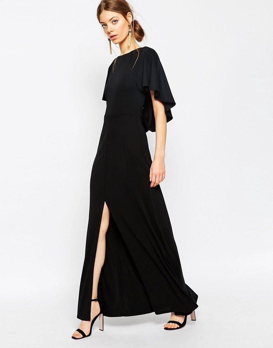 Crepe Maxi Dress With Soft Cape Back Detail Dresses Pinterest