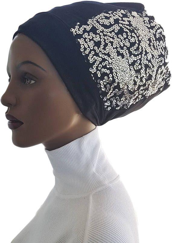3c5552f114c48 Dread lock Beanie Black Huggee Locks Beanie™ Hat Cap Silver Sequined ...