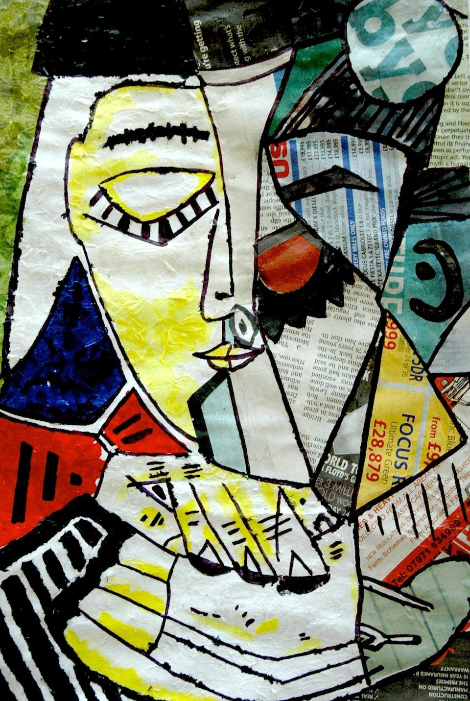 a portrait by picasso made with collage picasso art project for