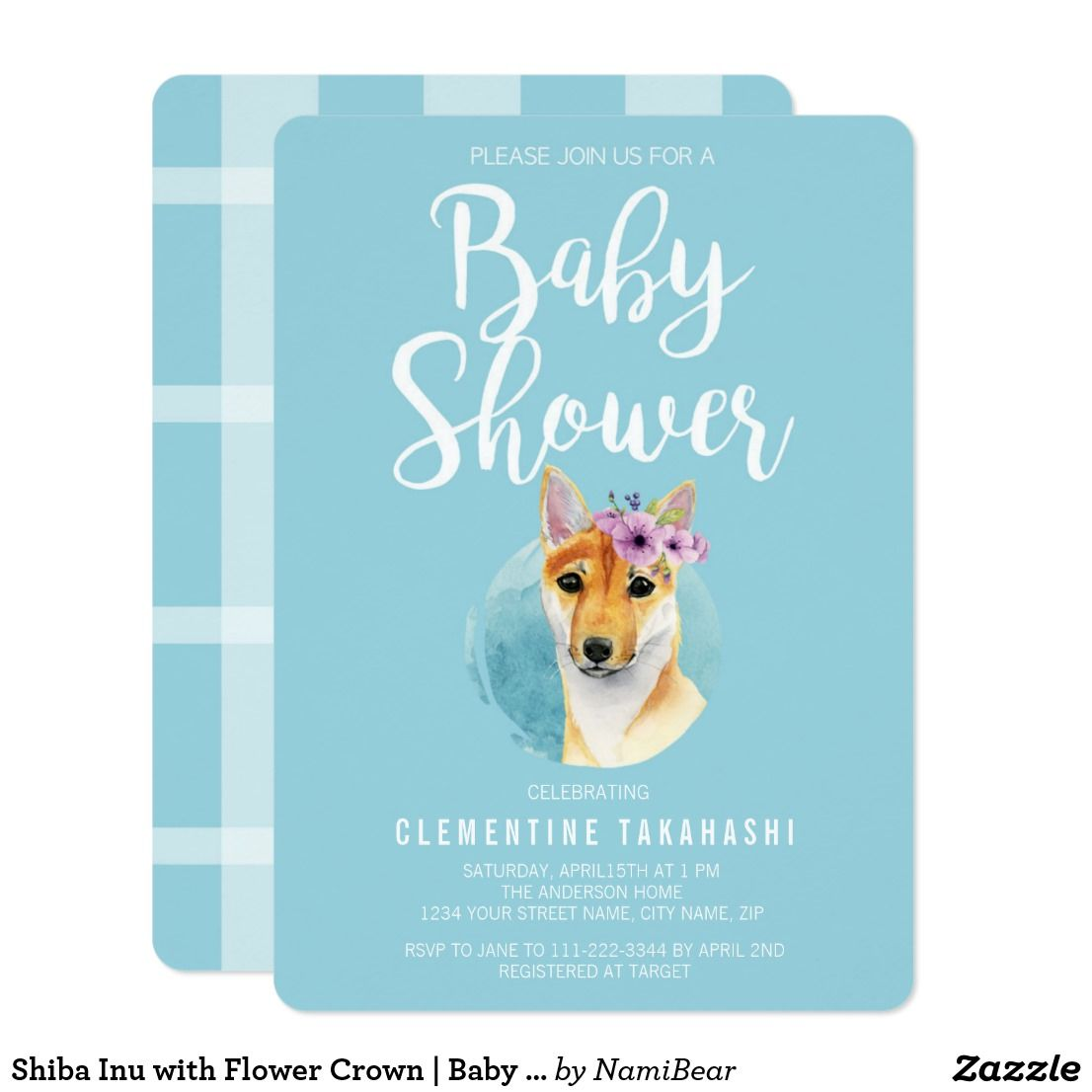 Shiba Inu with Flower Crown | Baby Shower Blue Card Adorable baby ...
