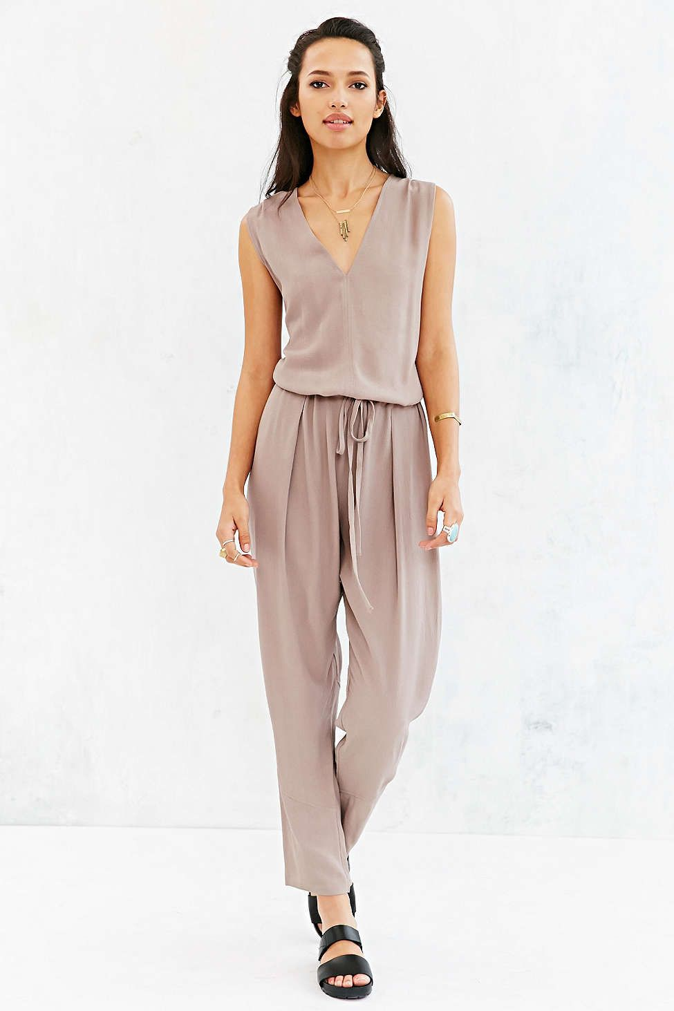 COPE Textured Drawstring Jumpsuit