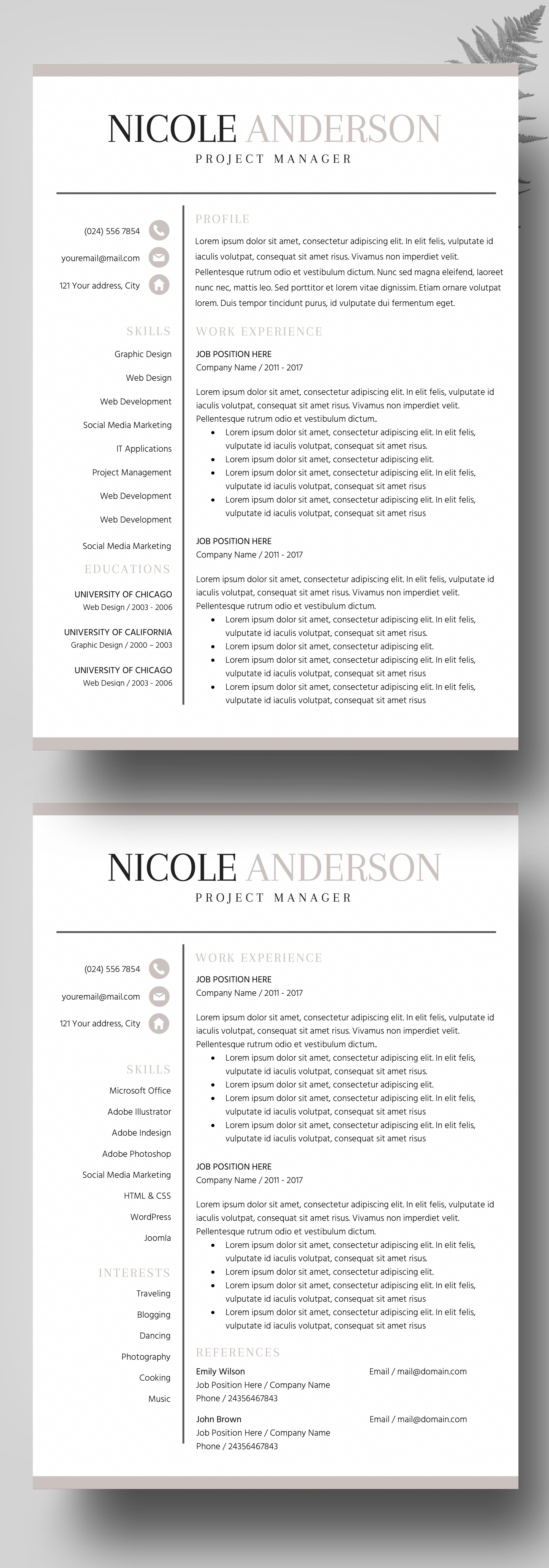 Professional Resume Bundle, Resume Instant Download, Bold