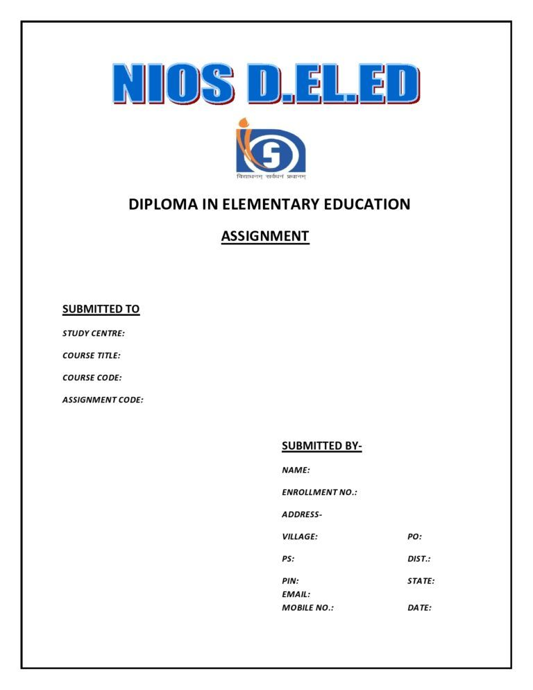 Download Nios D El Ed Assignment Front Page Assignments