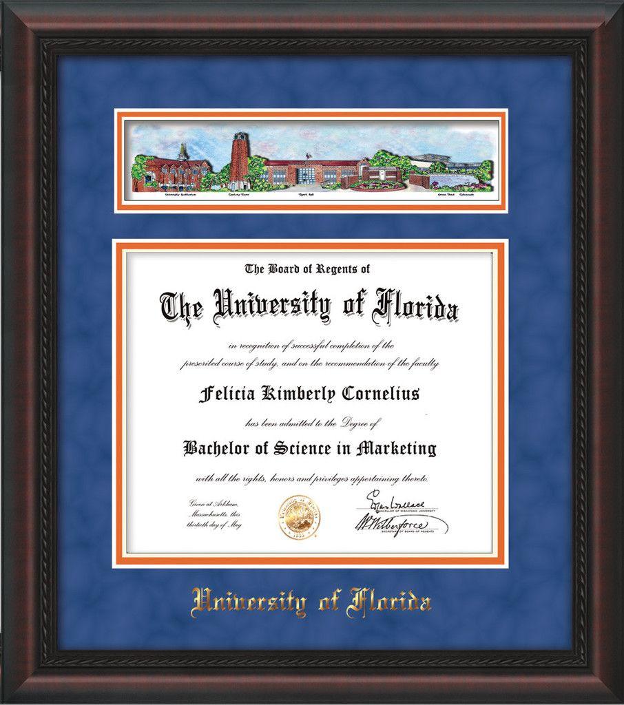 University of Florida Diploma Frame - Mahogany Braid - w/UF Embossed ...