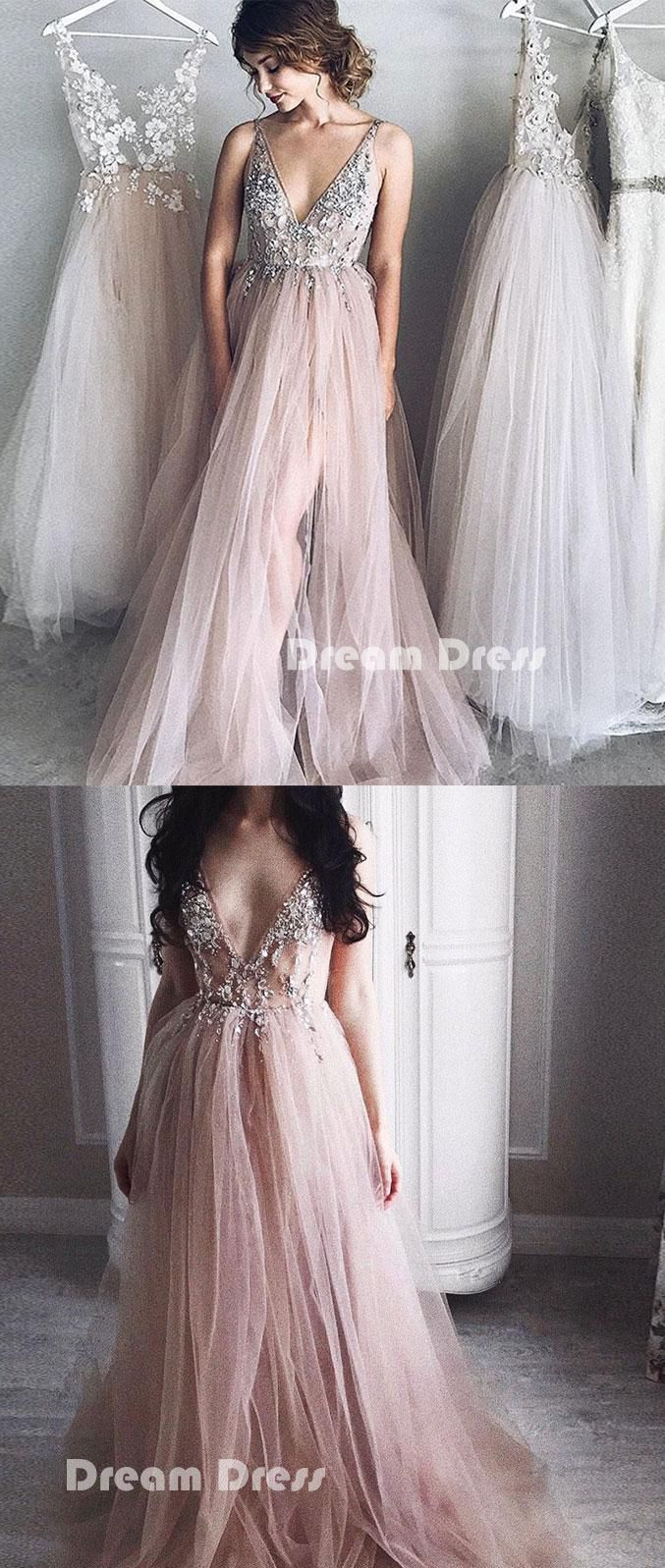 Elegant v neck tulle long prom dress evening dressespd