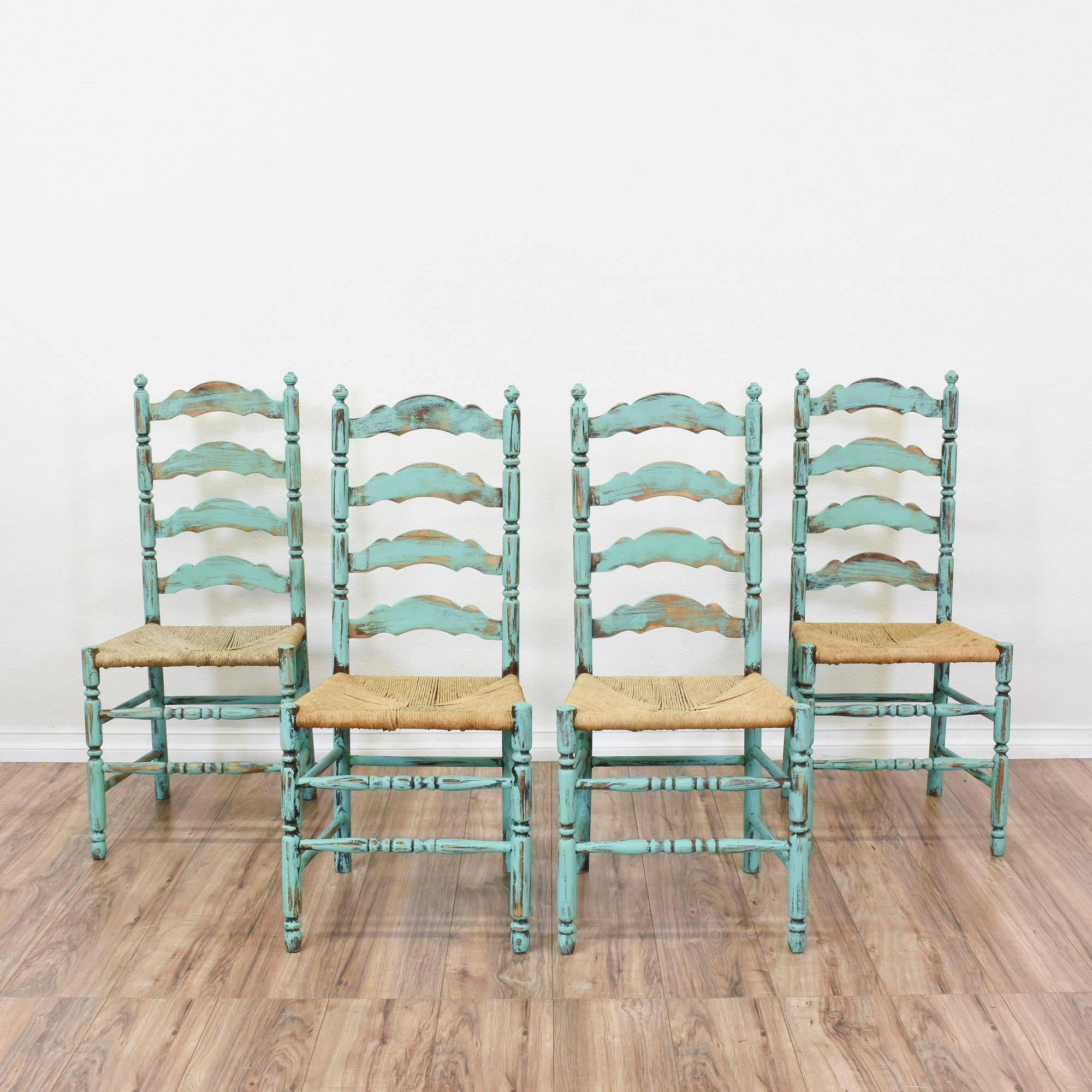 This Set Of 4 Shabby Chic Ladder Back Chairs Are Featured In A Solid Wood With Distressed Light Blue Chalk Paint Finish These Dining Great