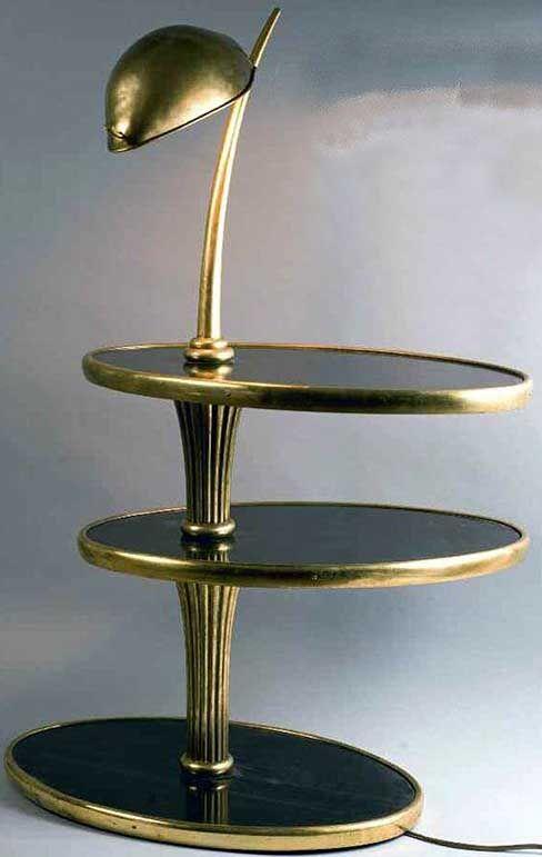 Paul Iribe Table De Chevet 2 Plateaux Ovales Placage
