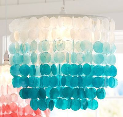 Ombre capiz chandelier aqua shell coastal lighting beach light ombre capiz chandelier aqua shell coastal lighting beach light decor aloadofball Choice Image