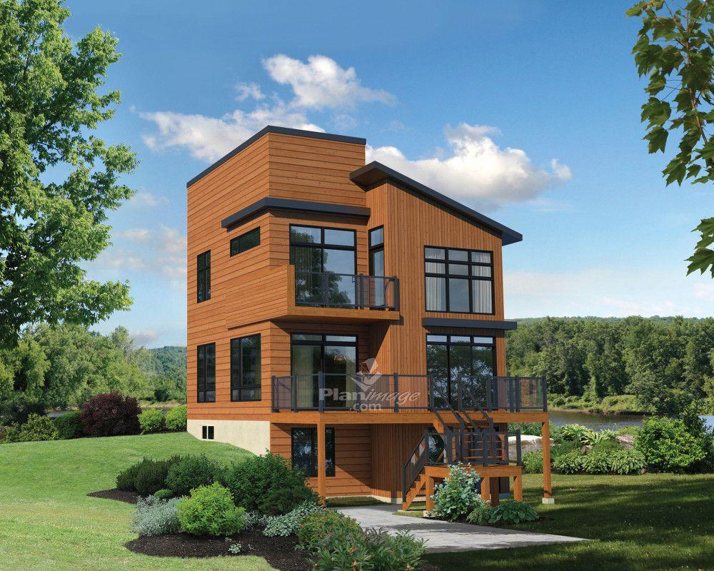 Dresse Sur Les Berges D Un Lac Ou Erige A Flanc De Montagne Offrant Une Vue Splendide Su Modern House Plans Modern House Plan Architectural Design House Plans
