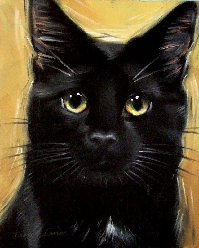 Black Cat Painting, Watercolor Cat