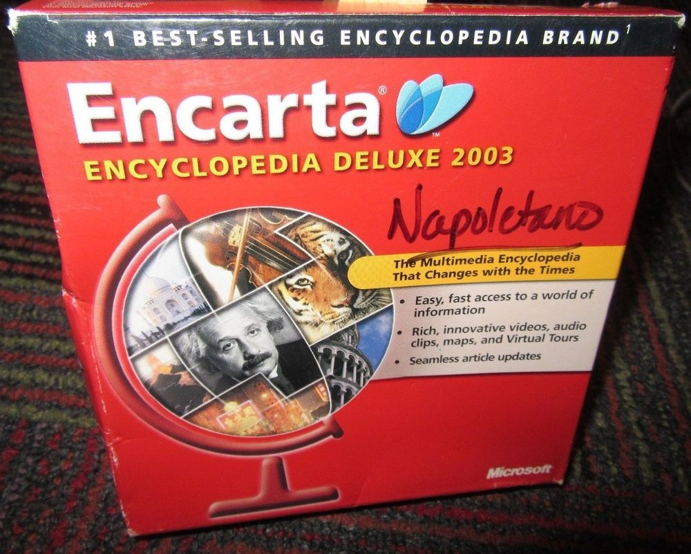 MICROSOFT ENCARTA ENCYCLOPEDIA DELUXE 2003 3-DISC PC CD-ROM SET FOR