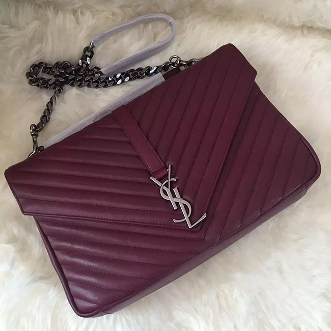 827f0ffd3101 ysl burgundy chain calfskin leather quilted bag