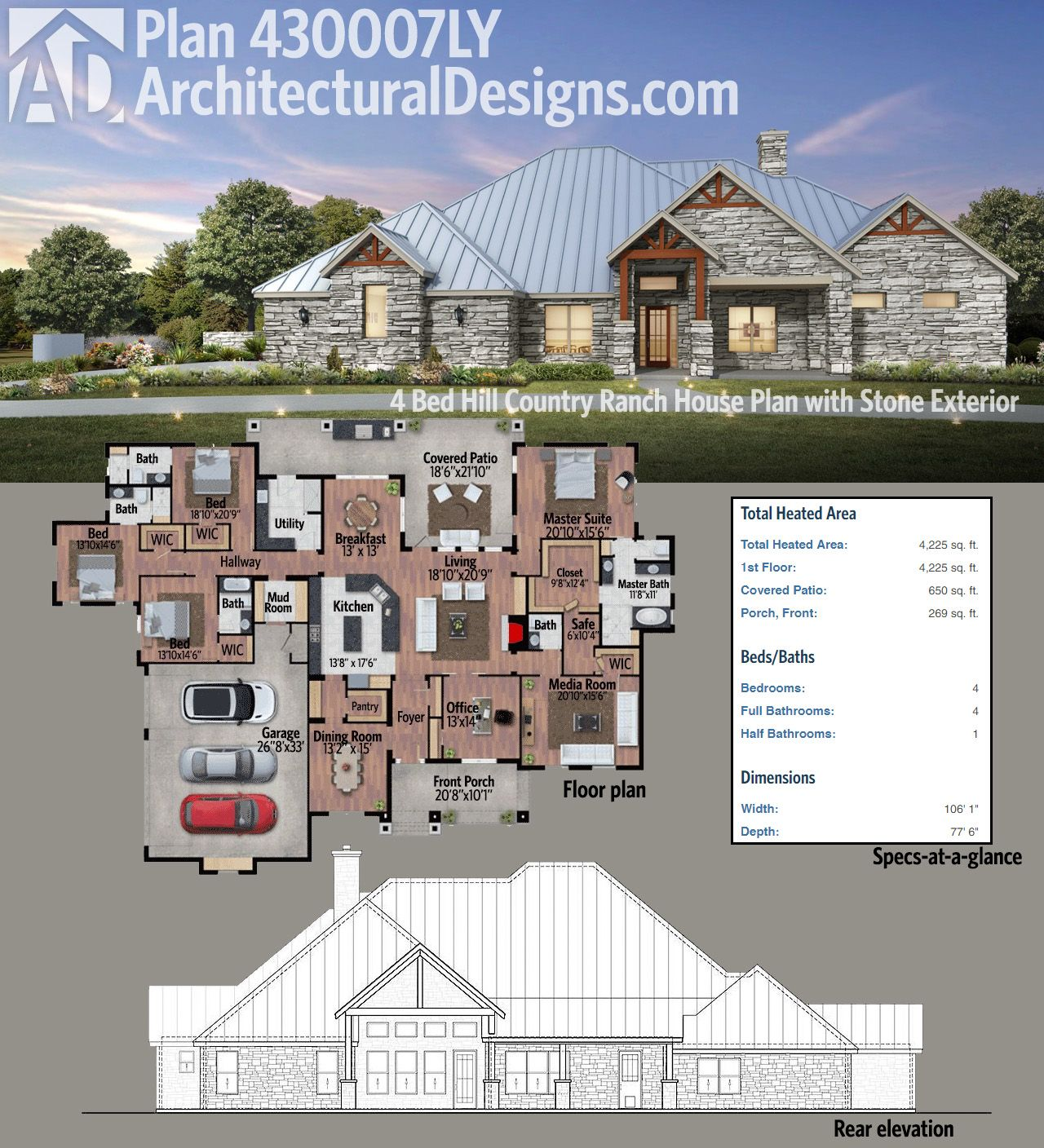 Plan 430007LY: 4 Bed Hill Country Ranch House Plan With