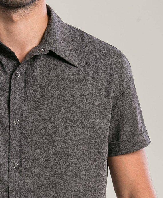 8db73151646d3 Men Grey Button Down Shirt Sacred Geometry Shipibo All Over Print Short  Sleeve Button Up Shirt Mens