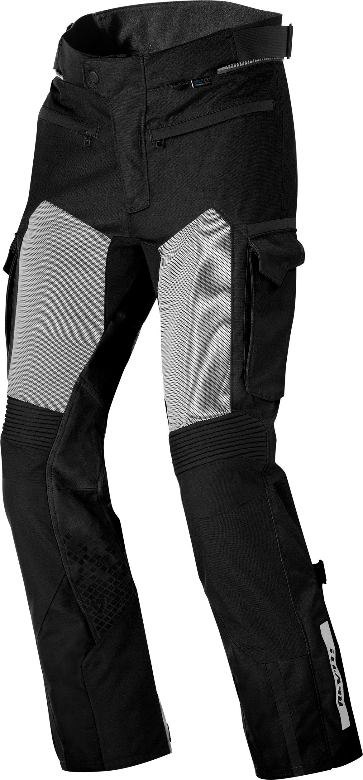 Revit Cayenne Pro textile pants men - Black - XL. When it is simply too hot to be wearing most protective gear the Cayenne Pro trousers will come to the rescue. These single-layered trousers are extremely breathable as they are constructed with large mesh panels and aero cool 3d mesh. The one-layer construction allows the airflow to cool the body directly. It is constructed with safety seams, leather panels and 1000D PWR shell, and features ventilation panels, adjustment straps and laminated ref