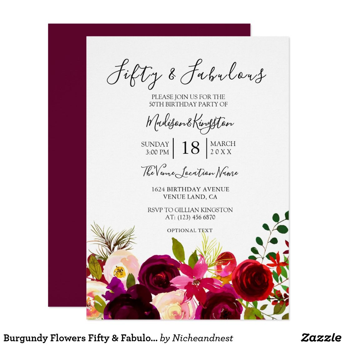 Burgundy Flowers Fifty & Fabulous 50th Birthday Invitation | { Happy ...