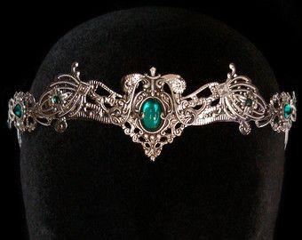 Elven Dream Fairy Wedding Crown Circlet Tiara White Opal Moonstone Butterfly Medieval Renaissance Jewelry Elf Headdress - Made to Order