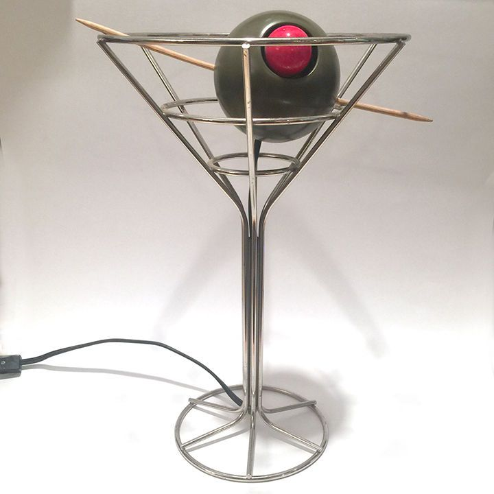 Vintage David Krys Original Bar Lamp Martini Glass Olive Mood Light