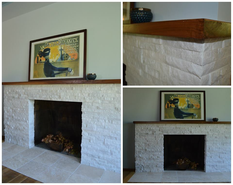 New White Quartz Stacked Stone Fireplace Surround With Black Walnut Mantel By Flying Dormer