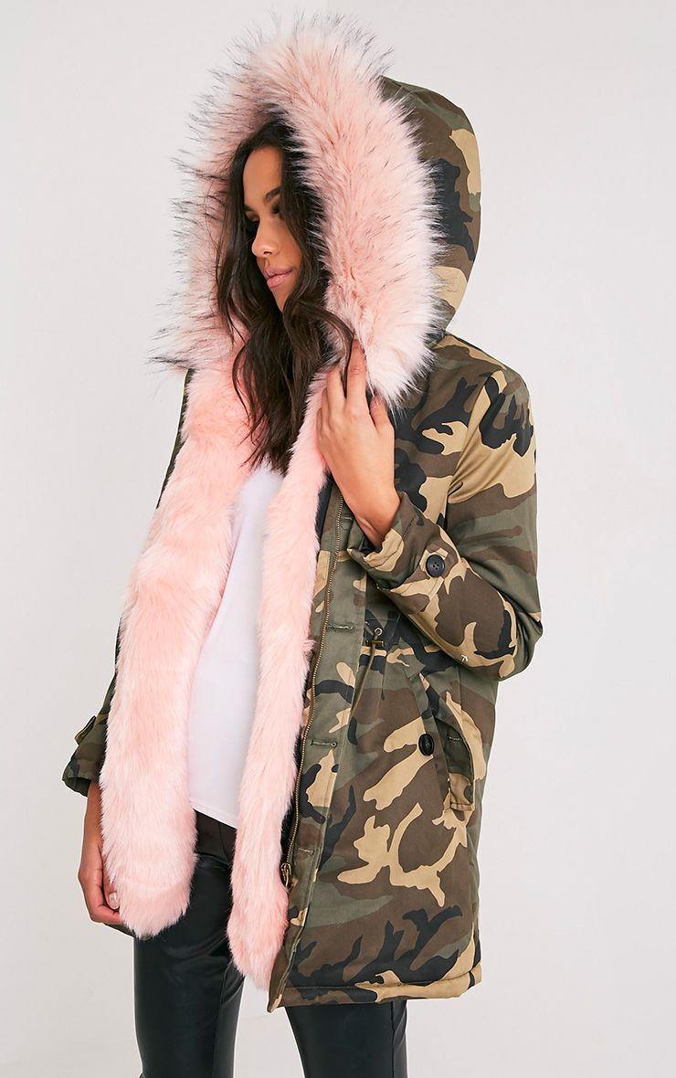 7788cc16db266 Fliss Blue Premium Camo Faux Fur Lined Parka | Style | Fur, Faux fur ...