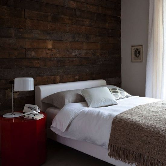 Wood Cladding Feature Wall Bedroom Home Stylish Bedroom
