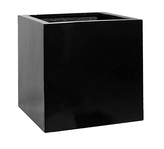 Black Square Planter Box Indoor Outdoor Elegant Cube 400 x 300