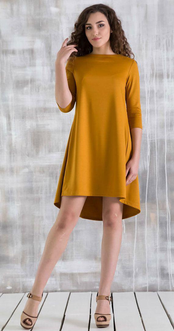 9b8970d6d7 Asymmetric Mustard dress A - line dress for women Autumn dress ...
