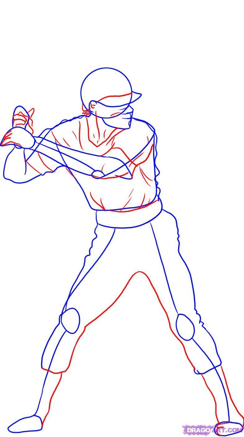 How To Draw A Baseball Player Step 3 Baseball Drawings Baseball Game Outfits Baseball Players