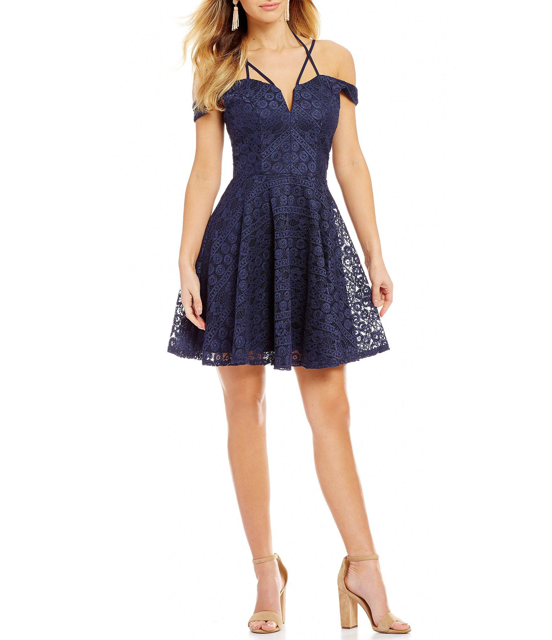 e7fc89cba4 Shop for Jodi Kristopher Off-The-Shoulder Lace Fit-And-Flare Dress at  Dillards.com. Visit Dillards.com to find clothing