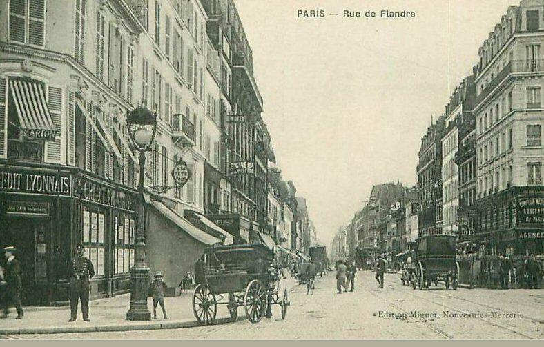vue de la rue de flandre vers 1900 paris 19 me paris 19 me d 39 antan pinterest rues. Black Bedroom Furniture Sets. Home Design Ideas