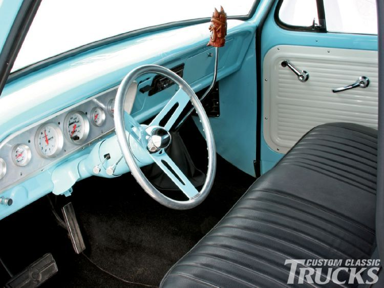 Inside of a 1967 Ford F150 pickup like mine The gear shift is on