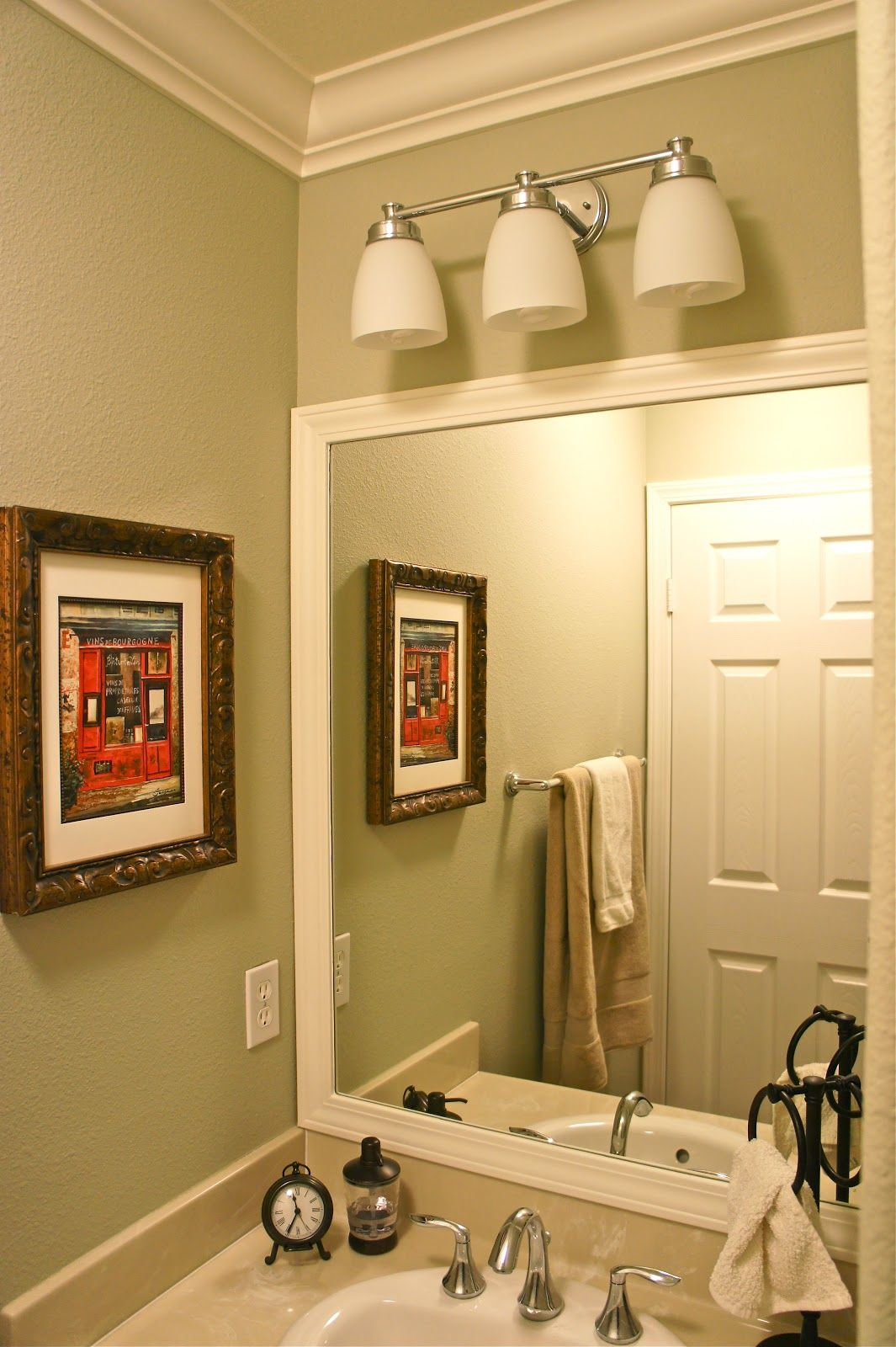 Benjamin Moore Spanish Olive With Framed Out Bathroom Mirror And Crown Moulding
