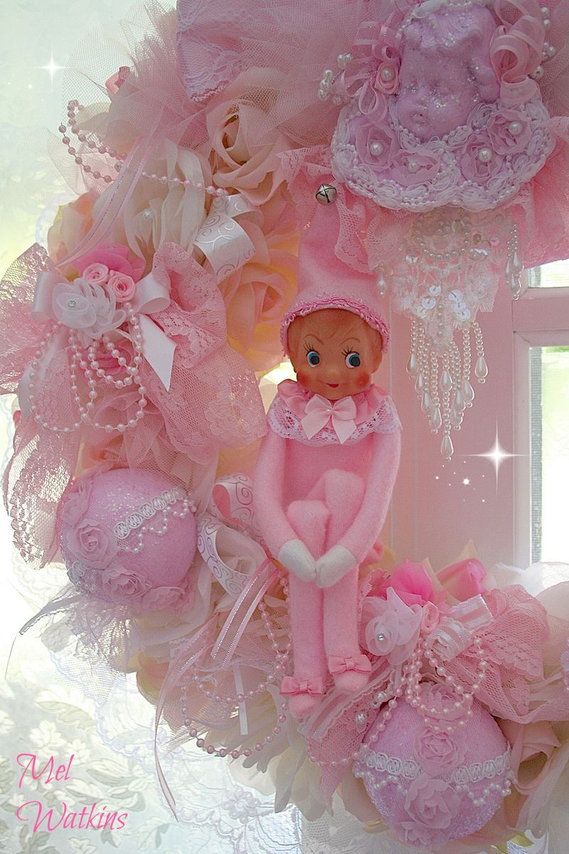 Vintage pink elf my mum re-made in pink - sitting pretty in a gorgeous candy pink wreath made by Olivia from Olivia's Romantic home - Etsy <3