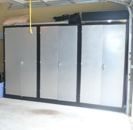 ***(3) Blk Metal/Stainless Locking Garage Cabinets***