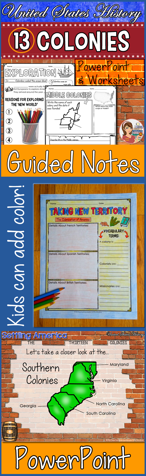 13 Original Colonies Powerpoint Guided Notes Keep Students Engaged With These Fun St Homeschool Social Studies Social Studies Notebook Social Studies Lesson [ 1665 x 510 Pixel ]