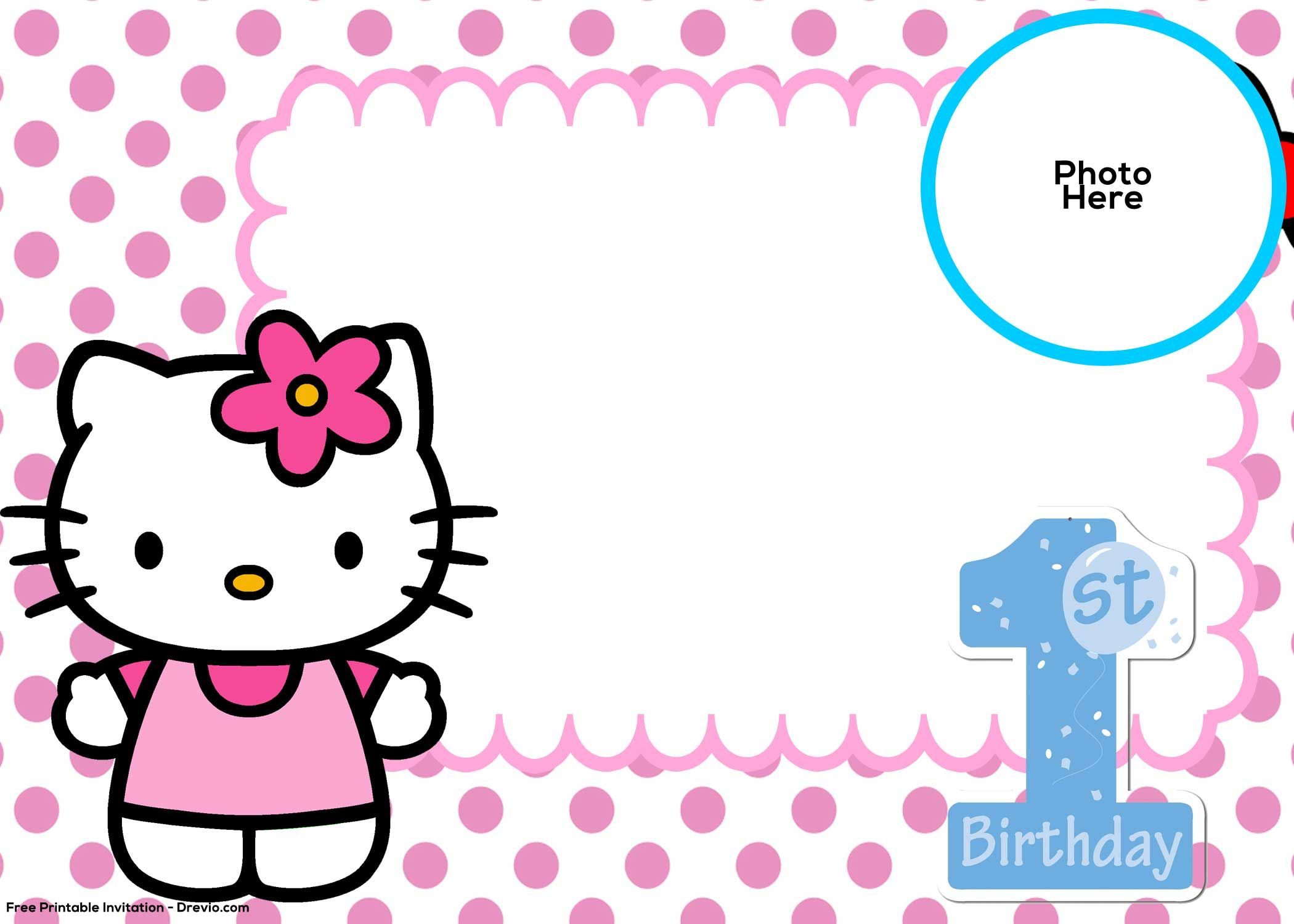 FREE Hello Kitty 5st Birthday Invitation Template  DREVIO  Hello