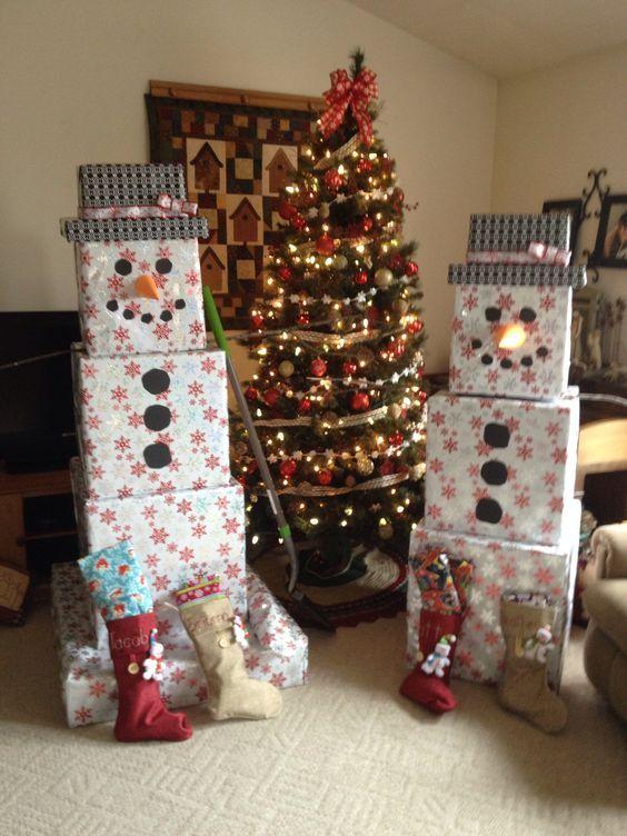 15 Best Christmas Decor for Household: 13. DIY Gift Boxes Snowmen ...