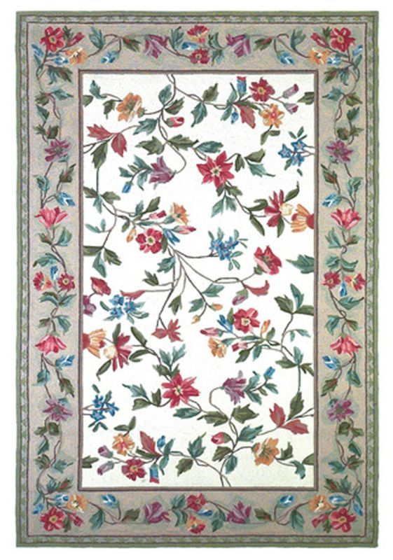 Home Decorator Rugs Floral Vines: KAS Rugs Colonial 1707 Ivory Floral Vine Hand Hooked 100% Wool    ,