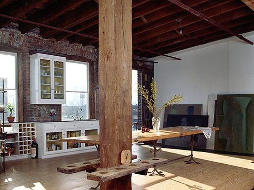 exposed original wood, brick and concrete floors