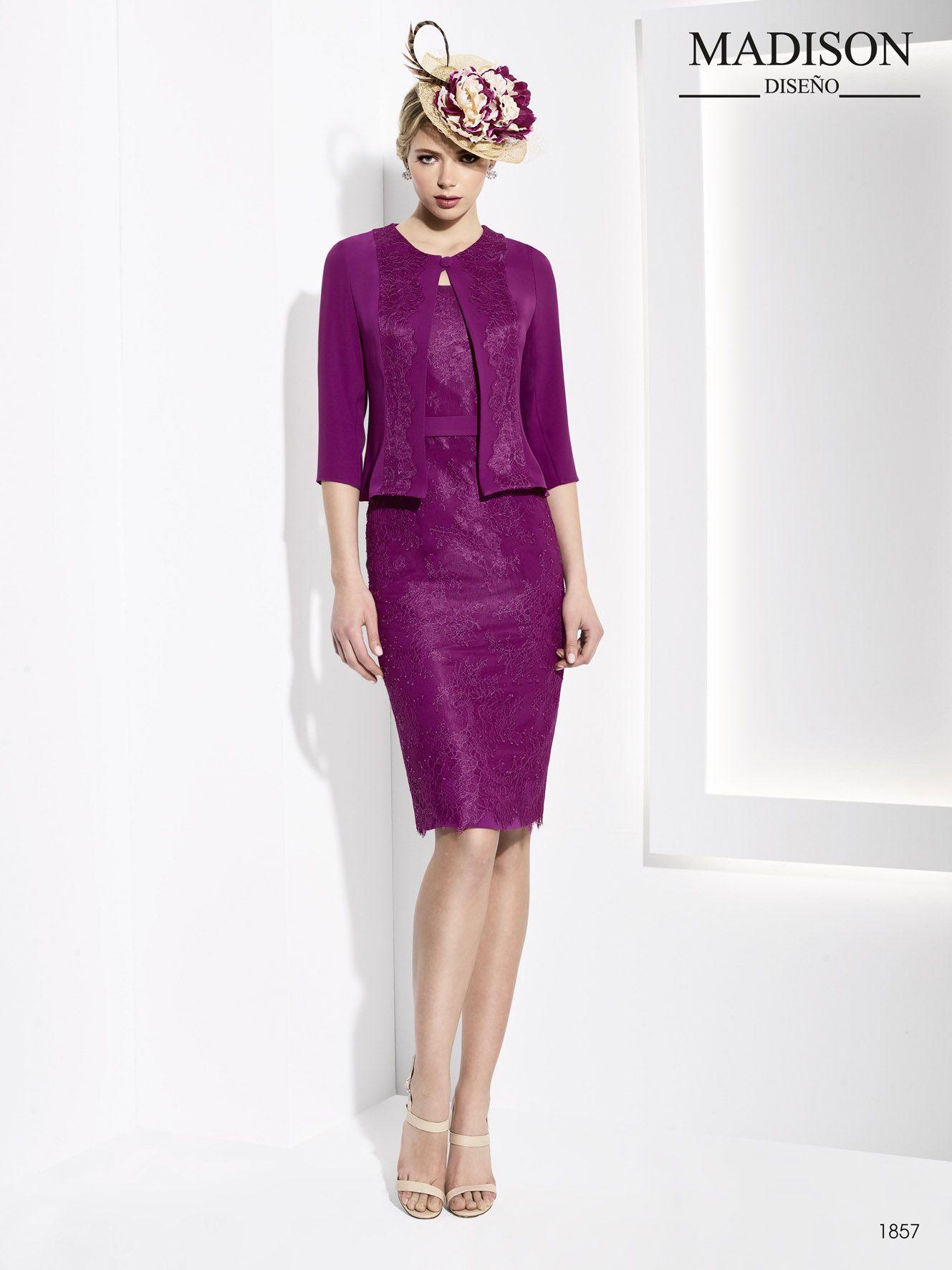 elegante vestido corto de fiesta con chaqueta color morado para ...